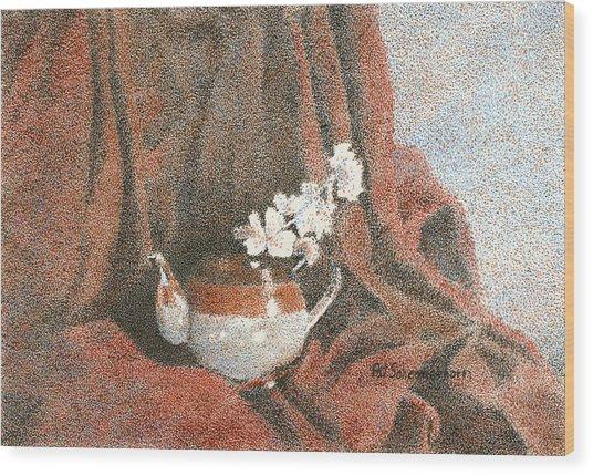 Teapot On Red Wood Print by Pat Schermerhorn