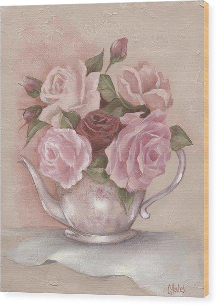 Teapot Roses Wood Print