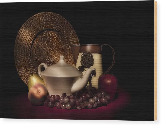 Teapot With Fruit Still Life Wood Print