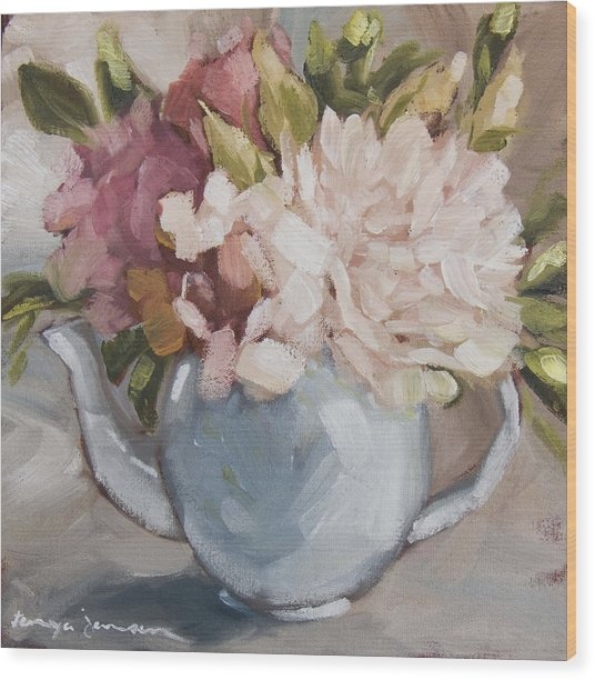 Teapot With Peonies Wood Print