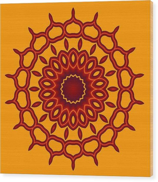 Teardrop Fractal Mandala Wood Print