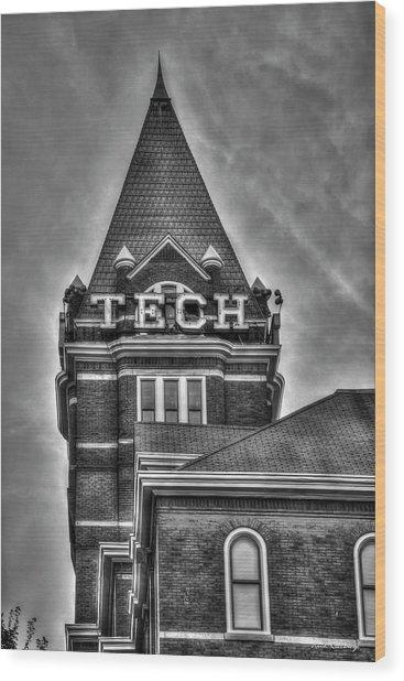 Tech B W Georgia Institute Of Technology Atlanta Georgia Art Wood Print