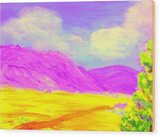 Technicolor Desert Wood Print by Lessandra Grimley