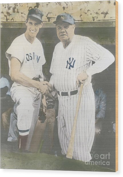 Ted Williams And Babe Ruth Wood Print by Susan Bock