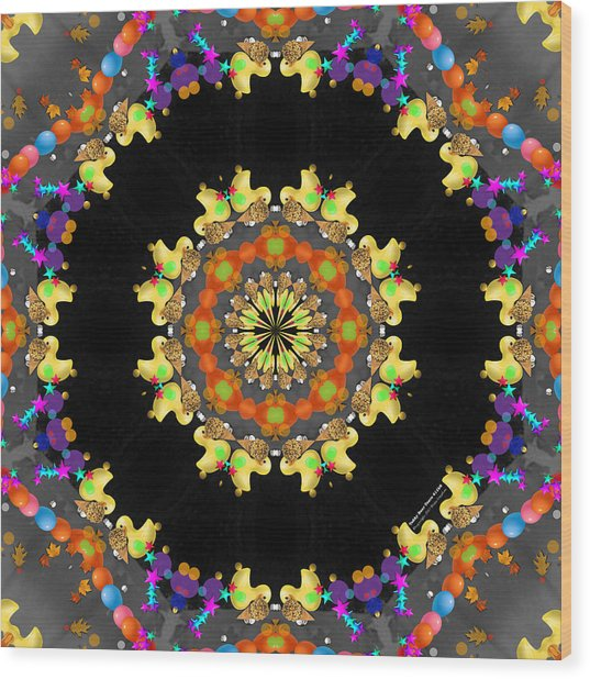 Wood Print featuring the digital art Teddy Bear Tears 411k8 by Brian Gryphon