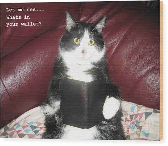 Teddy The Ninja Cat Wants To Know Whats In Your Wallet  Wood Print by Reb Frost