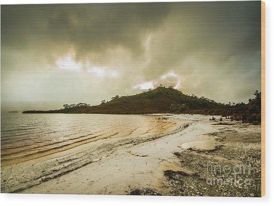 Teds Beach At Dusk Wood Print