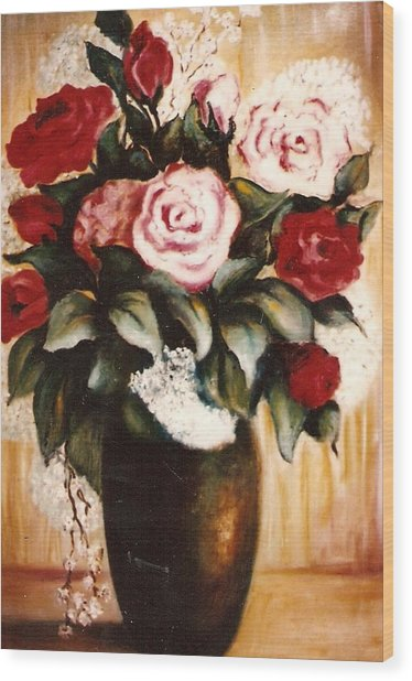 Ted's Flowers Wood Print