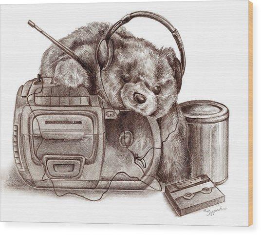 Teenage Bear Wood Print