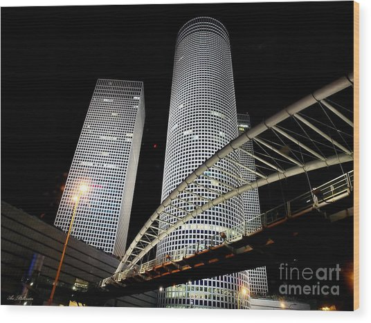 Tel Aviv Azrieli Towers Wood Print