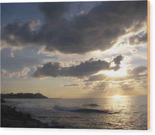 Tel Aviv Sunset At The Beach Wood Print by Yonatan Frimer Maze Artist