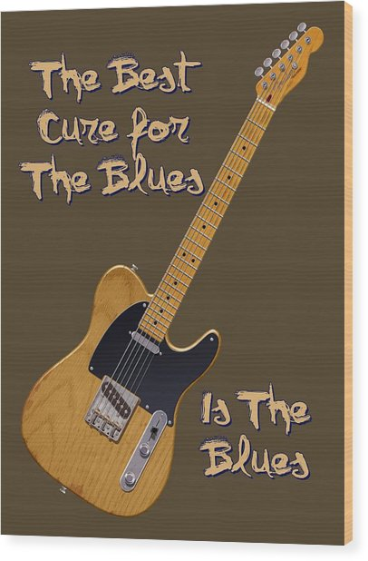 Tele Blues Cure Wood Print