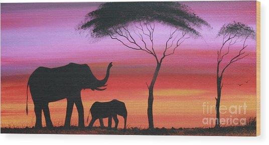 Tembo Wood Print by Abu Artist