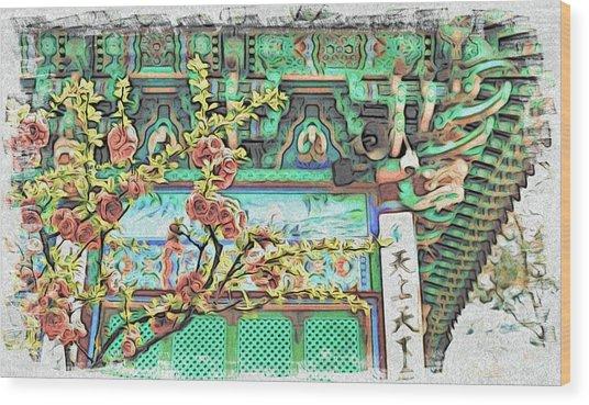 Temple Flowers Wood Print