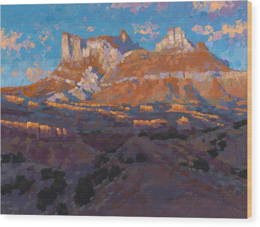Temple Mountain Tapestry Wood Print