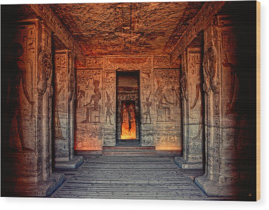 Temple Of Hathor And Nefertari Abu Simbel Wood Print