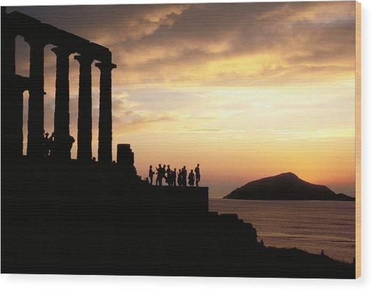 Temple Of Poseiden In Greece Wood Print
