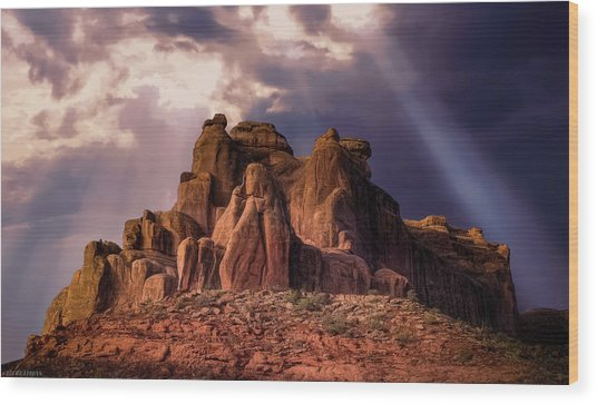 Temple Of Red Stone Wood Print