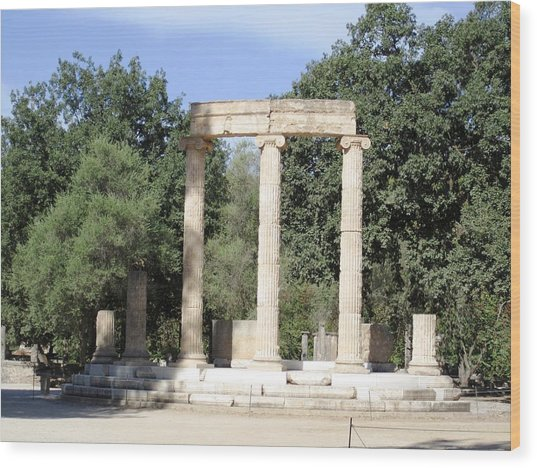 Temple Of Zeus Ancient Ruins In Olympia Greece Wood Print