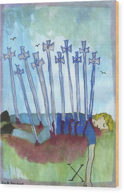 Ten Of Swords Illustrated Wood Print by Sushila Burgess