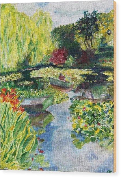 Tending The Pond Wood Print