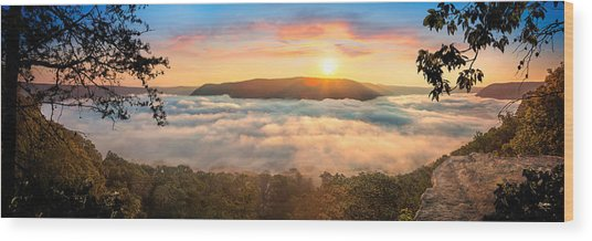 Tennessee River Gorge Morning Fog Wood Print
