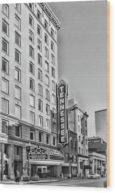 Tennessee Theatre Marquee Building Black And White Wood Print