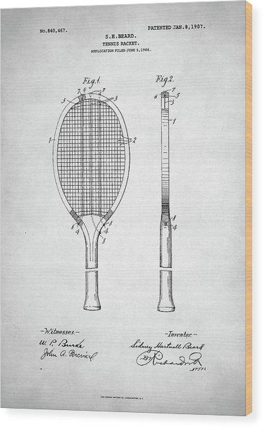 Tennis Racket Patent 1907 Wood Print