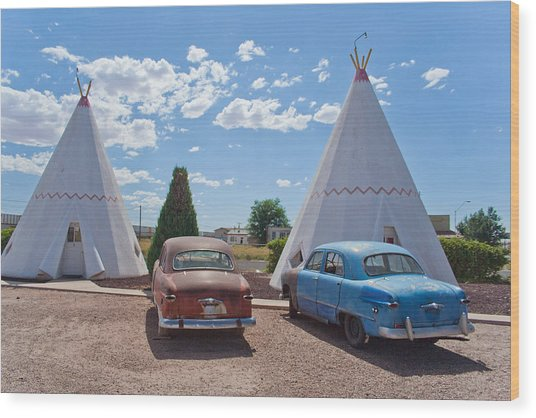 Tepee With Old Cars Wood Print