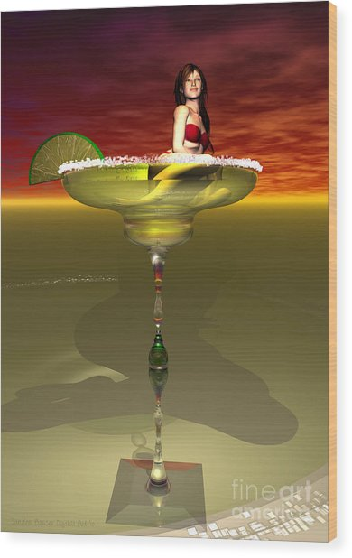 Wood Print featuring the digital art Tequila Sunrise by Sandra Bauser Digital Art
