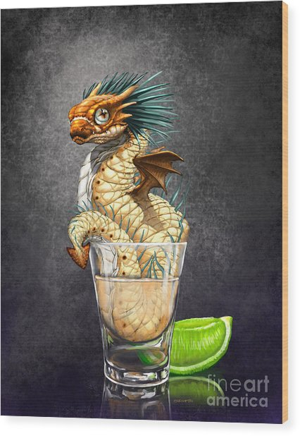 Tequila Wyrm Wood Print