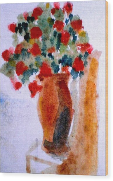 Terracotta Vase And Flowers Wood Print by Maria Rosaria DAlessio