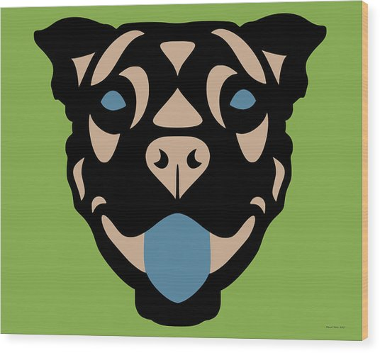 Terrier Terry - Dog Design - Greenery, Hazelnut, Niagara Blue Wood Print