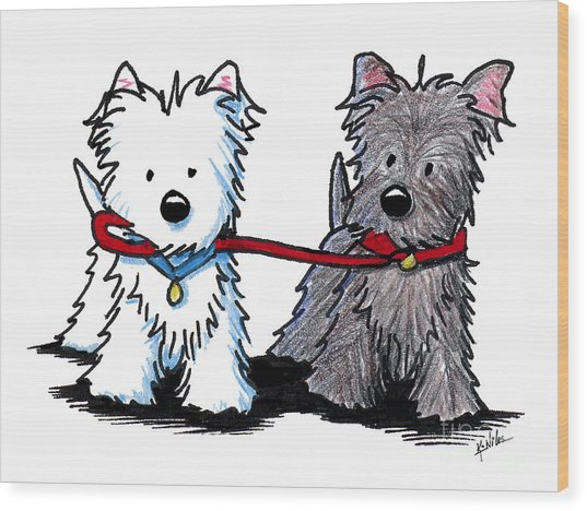 Terrier Walking Buddies Wood Print