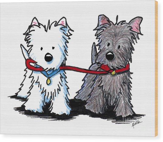 Terrier Walking Buddies Wood Print by Kim Niles