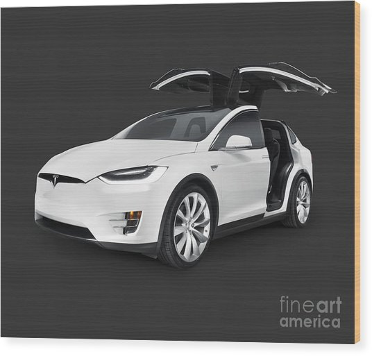 Tesla Model X Luxury Suv Electric Car With Open Falcon-wing Doors Art Photo Print Wood Print
