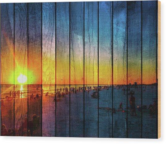 Siesta Key Drum Circle Sunset - Wood Plank Look Wood Print