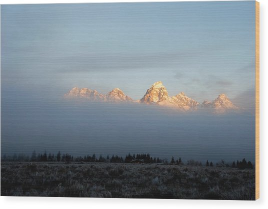 Teton Foggy Morning Wood Print