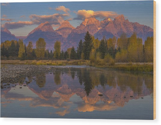 Teton Morning Mirror Wood Print