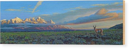 Teton Morning Wood Print
