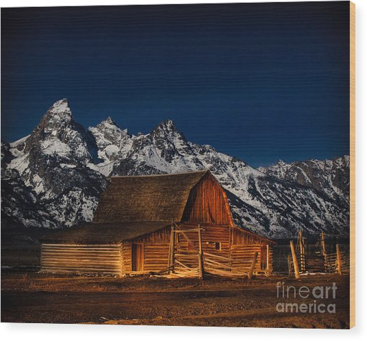 Teton Mountains With Barn Wood Print