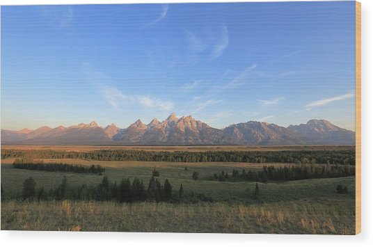 Teton Range After Sunrise Wood Print