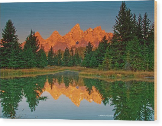 Teton Sunrise Wood Print