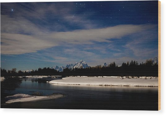 Tetons At Moonlight Wood Print