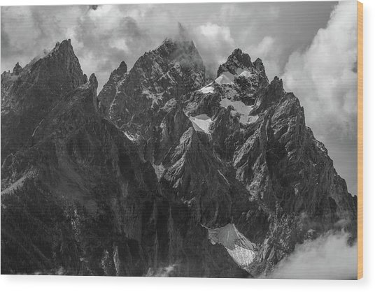 Wood Print featuring the photograph Tetons by Chuck Jason