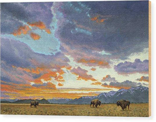 Tetons-looking South At Sunset Wood Print