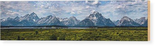 Tetons - Panorama Wood Print