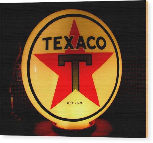 Texaco Wood Print by Lisa Jayne Konopka