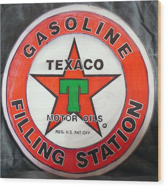 Texaco Sign Wood Print