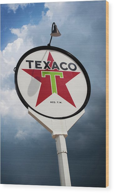Texaco Star Wood Print by Bud Simpson